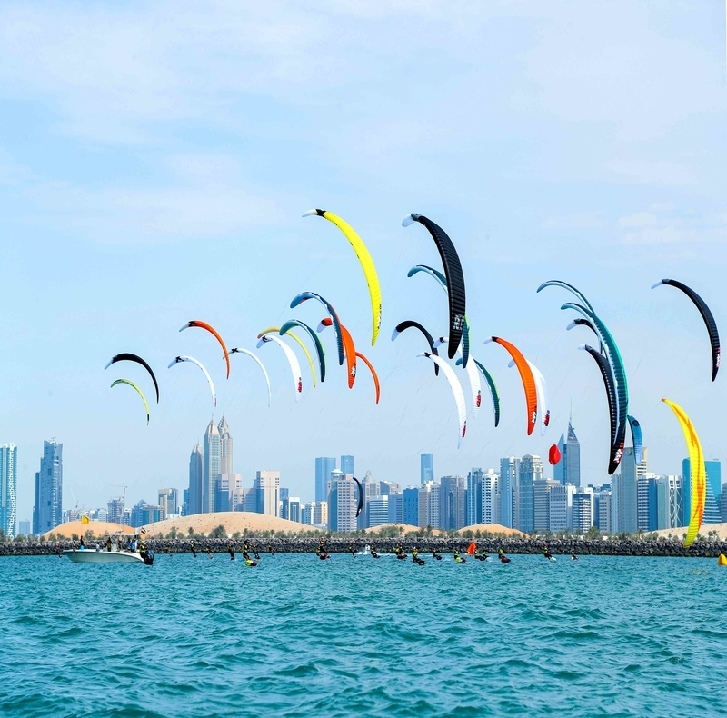 drone photography view of Abu Dhabi kite surfing
